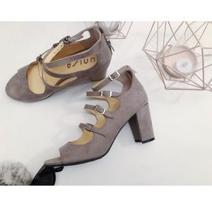 Unisa Grey Block Heels with Strappy Buckles Size 8